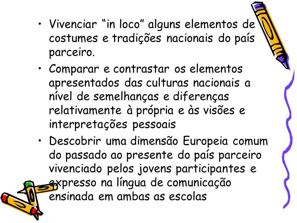 """Vivenciar """"in loco"""" alguns elementos de costumes e tradições nacionais do país parceiro. Comparar e contrastar os elementos apresentados das culturas"""