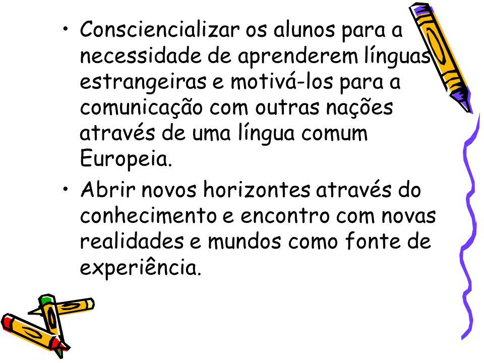 Consciencializar os alunos para a necessidade de aprenderem línguas estrangeiras e motivá-los para a comunicação com outras nações através de uma líng