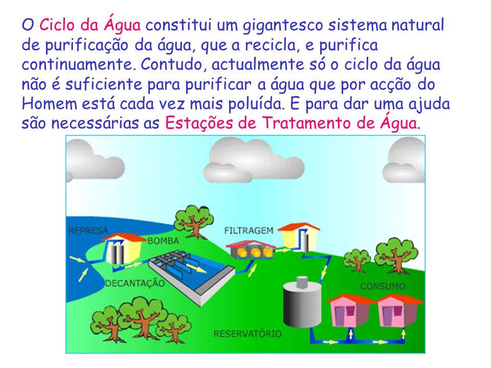 O Ciclo da Água constitui um gigantesco sistema natural de purificação da água, que a recicla, e purifica continuamente. Contudo, actualmente só o cic