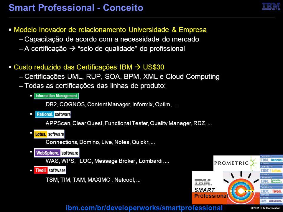 © 2011 IBM Corporation Smart Professional - Conceito  Modelo Inovador de relacionamento Universidade & Empresa –Capacitação de acordo com a necessidade do mercado –A certificação  selo de qualidade do profissional  Custo reduzido das Certificações IBM  US$30 –Certificações UML, RUP, SOA, BPM, XML e Cloud Computing –Todas as certificações das linhas de produto: IM DB2, COGNOS, Content Manager, Informix, Optim,...