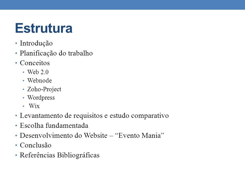 Estrutura Introdução Planificação do trabalho Conceitos Web 2.0 Webnode Zoho-Project Wordpress Wix Levantamento de requisitos e estudo comparativo Esc