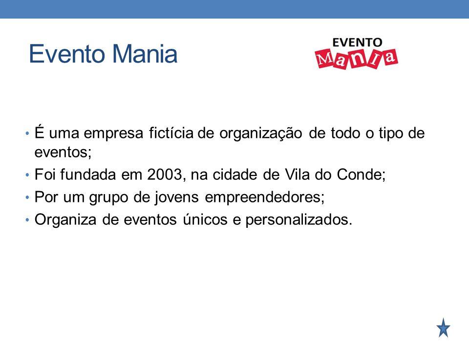 Evento Mania É uma empresa fictícia de organização de todo o tipo de eventos; Foi fundada em 2003, na cidade de Vila do Conde; Por um grupo de jovens