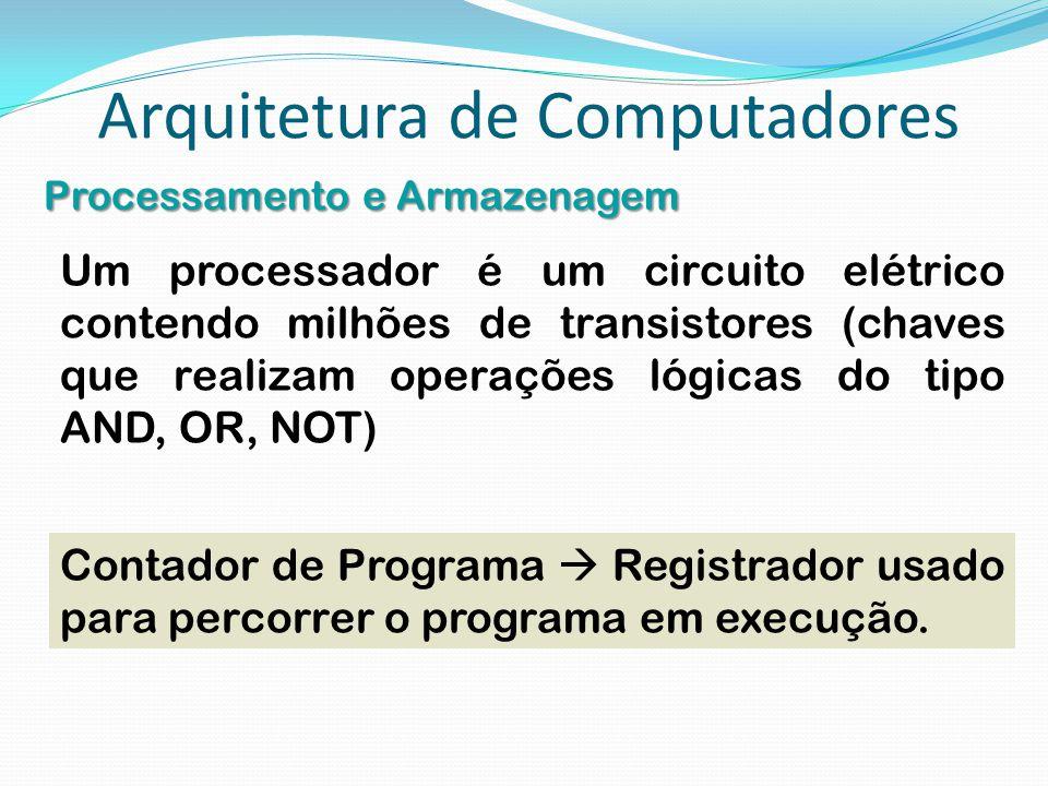 Arquitetura de Computadores Processamento e Armazenagem Um processador é um circuito elétrico contendo milhões de transistores (chaves que realizam op