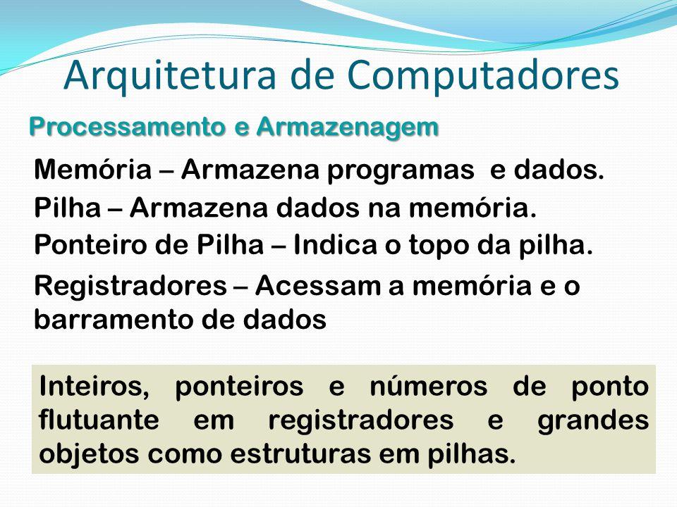 Arquitetura de Computadores Processamento e Armazenagem Pilha – Armazena dados na memória. Inteiros, ponteiros e números de ponto flutuante em registr
