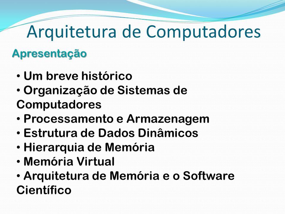 Arquitetura de Computadores Apresentação Um breve histórico Organização de Sistemas de Computadores Processamento e Armazenagem Estrutura de Dados Din