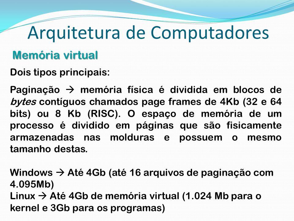 Arquitetura de Computadores Memória virtual Dois tipos principais: Paginação  memória física é dividida em blocos de bytes contíguos chamados page fr