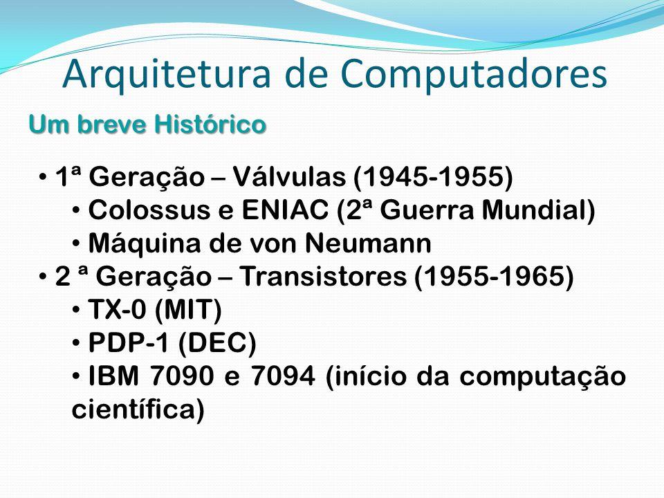 Arquitetura de Computadores Um breve Histórico 1ª Geração – Válvulas (1945-1955) Colossus e ENIAC (2ª Guerra Mundial) Máquina de von Neumann 2 ª Geraç