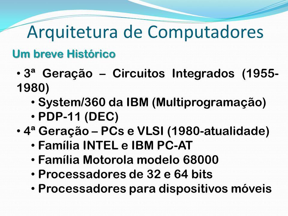 Arquitetura de Computadores Um breve Histórico 3ª Geração – Circuitos Integrados (1955- 1980) System/360 da IBM (Multiprogramação) PDP-11 (DEC) 4ª Ger