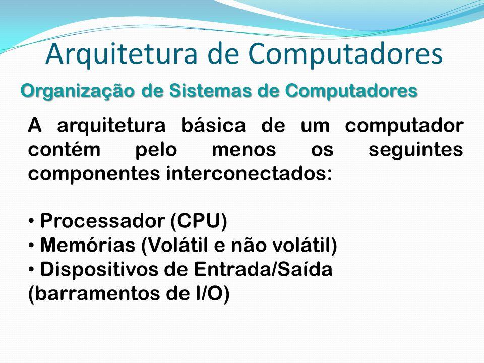 Arquitetura de Computadores Organização de Sistemas de Computadores A arquitetura básica de um computador contém pelo menos os seguintes componentes i