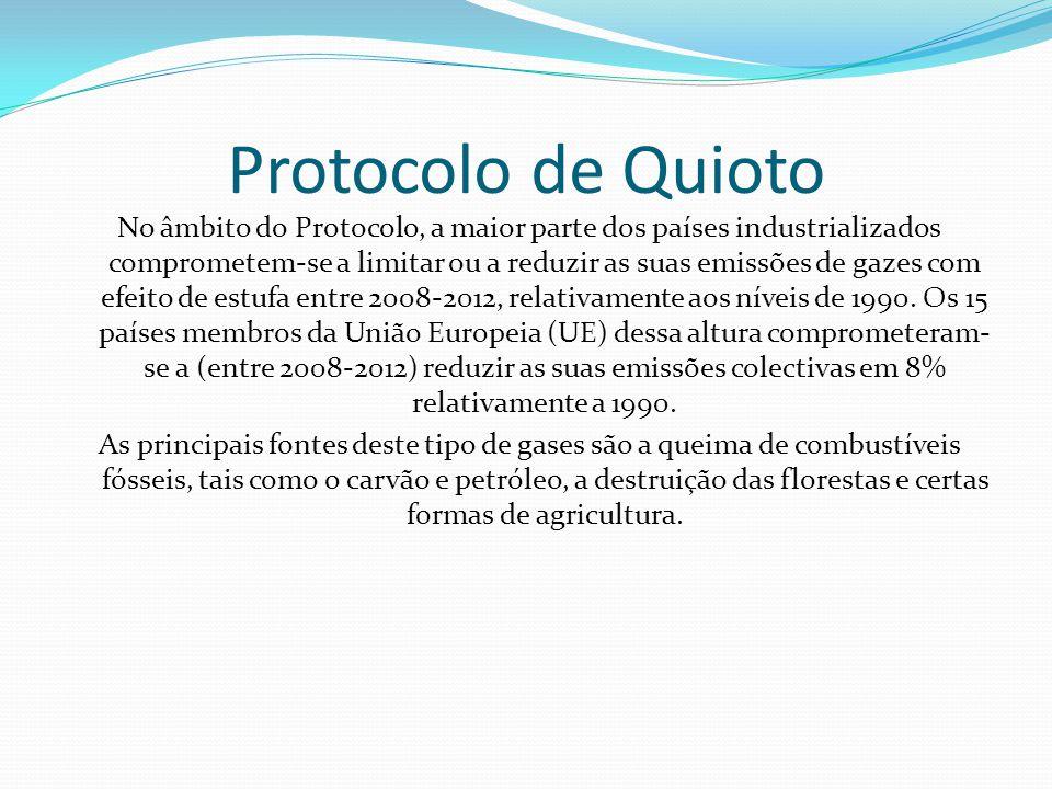 Protocolo de Quioto No âmbito do Protocolo, a maior parte dos países industrializados comprometem-se a limitar ou a reduzir as suas emissões de gazes