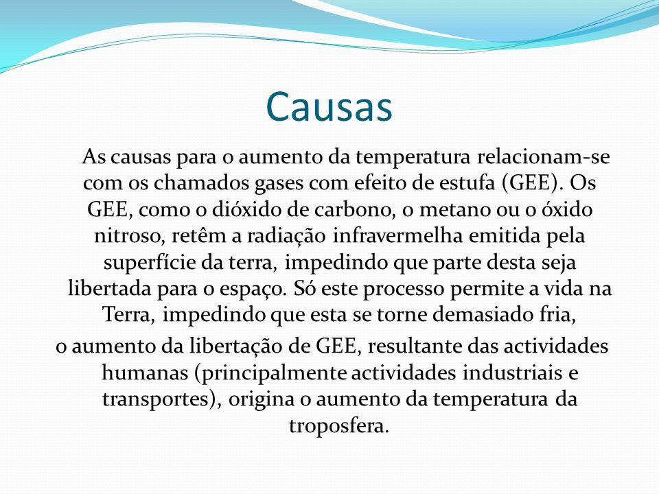 Causas As causas para o aumento da temperatura relacionam-se com os chamados gases com efeito de estufa (GEE). Os GEE, como o dióxido de carbono, o me