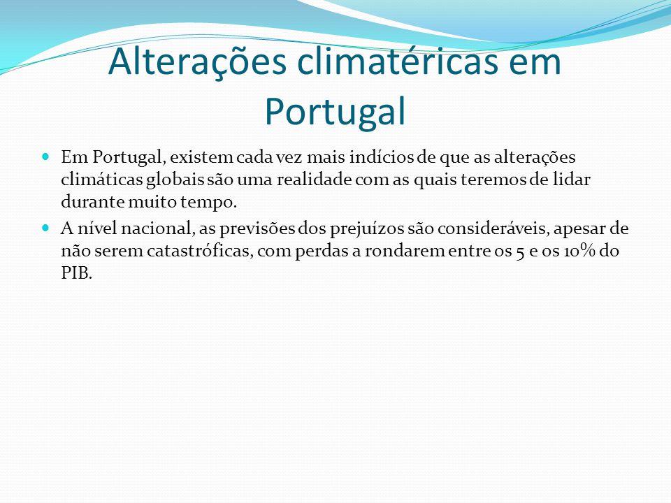 Segundo o estudo mais completo sobre o impacto das alterações climáticas em Portugal, o chamado SIAM II (1), os efeitos mais significativos do aquecimento global incluem uma significativa erosão do litoral, um aumento da frequência de fenómenos climáticos extremos (como secas prolongadas ou cheias repentinas), uma redução da pluviosidade (entre 30 e 40% da actual) e um aumento da temperatura média que terão um impacto considerável, tanto nas orlas costeiras afectadas pela subida dos mares, nas zonas interiores e meridionais que sofrerão com reduções significativas da pluviosidade, bem como em alguns dos sectores mais importantes da economia nacional, como a agricultura e o turismo.