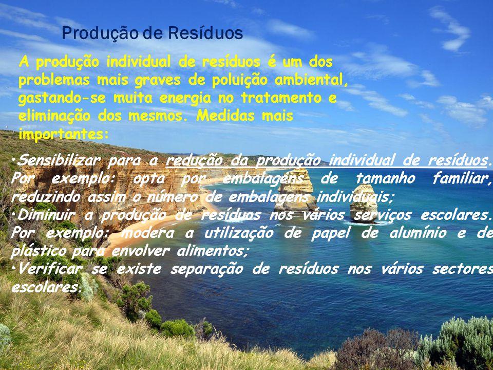 Produção de Resíduos A produção individual de resíduos é um dos problemas mais graves de poluição ambiental, gastando-se muita energia no tratamento e