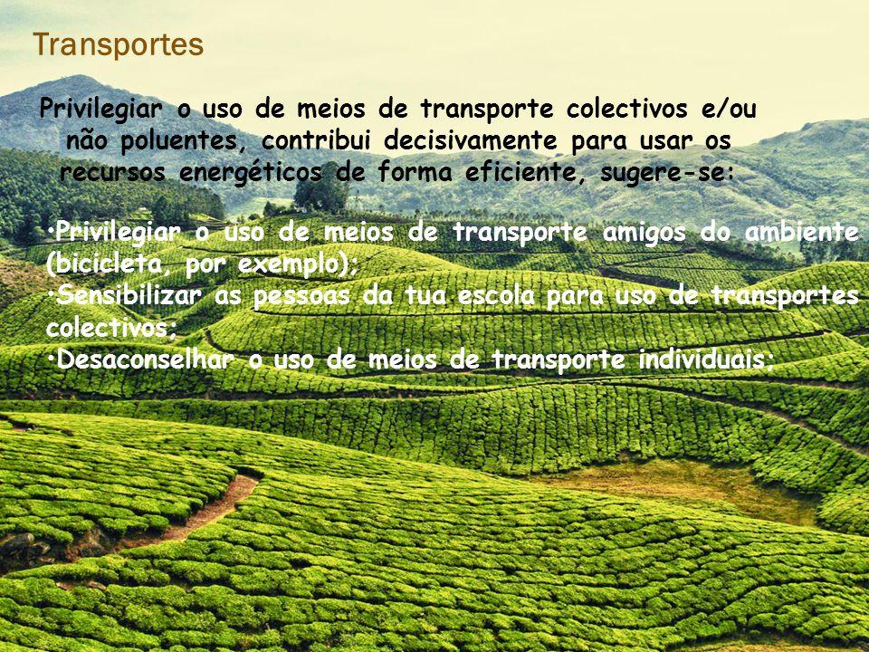 Transportes Privilegiar o uso de meios de transporte colectivos e/ou não poluentes, contribui decisivamente para usar os recursos energéticos de forma