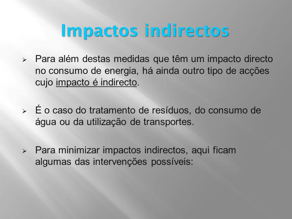  Para além destas medidas que têm um impacto directo no consumo de energia, há ainda outro tipo de acções cujo impacto é indirecto.