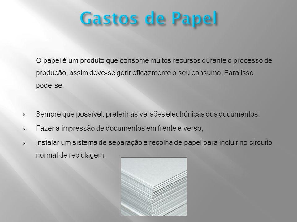 O papel é um produto que consome muitos recursos durante o processo de produção, assim deve-se gerir eficazmente o seu consumo.