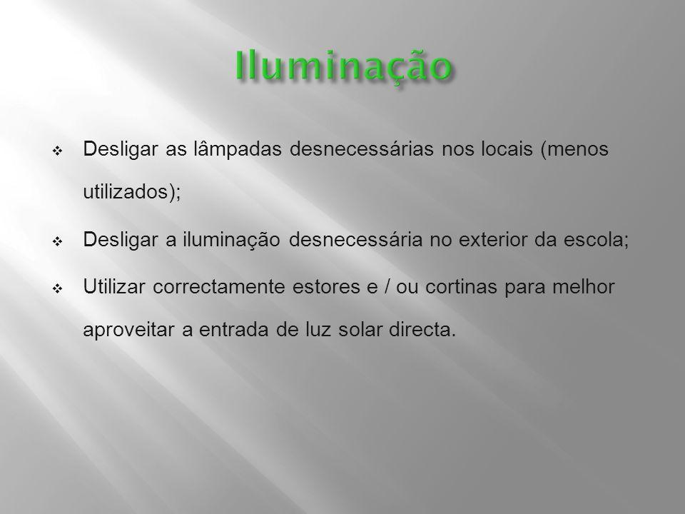  Desligar as lâmpadas desnecessárias nos locais (menos utilizados);  Desligar a iluminação desnecessária no exterior da escola;  Utilizar correctam