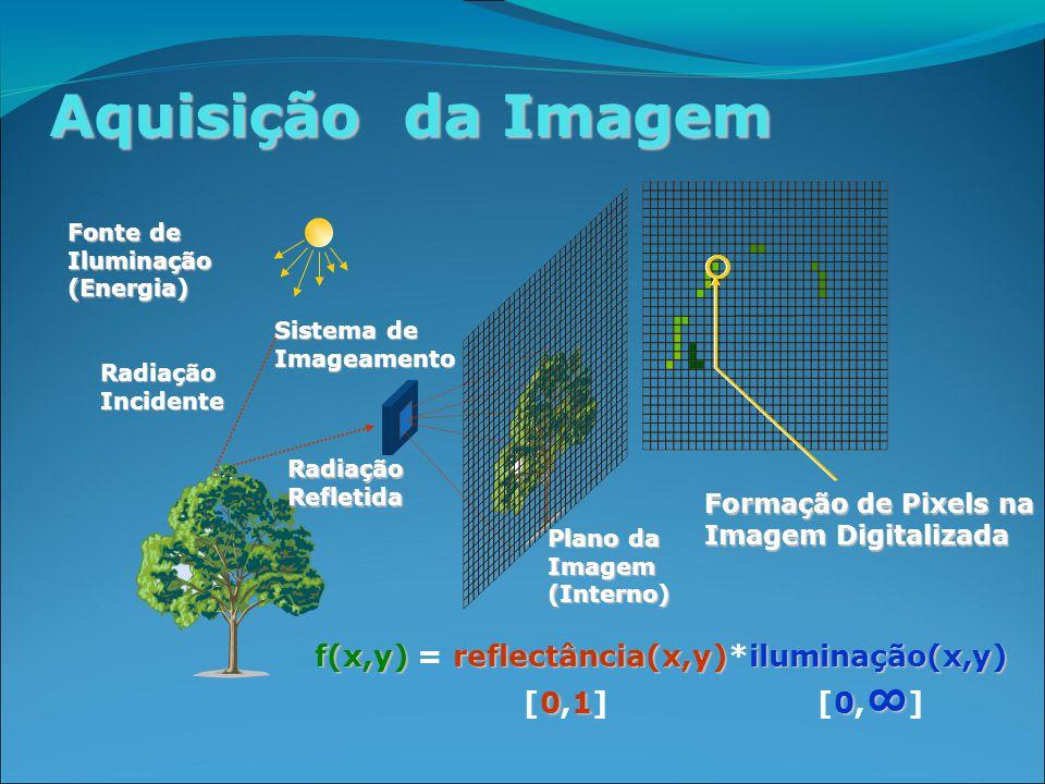 Aquisição da Imagem Fonte de Iluminação (Energia) Radiação Incidente Sistema de Imageamento Plano da Imagem (Interno) Radiação Refletida f(x,y)reflectância(x,y)iluminação(x,y) f(x,y) = reflectância(x,y)*iluminação(x,y) 010 ∞ [0,1] [0, ∞ ] Formação de Pixels na Imagem Digitalizada