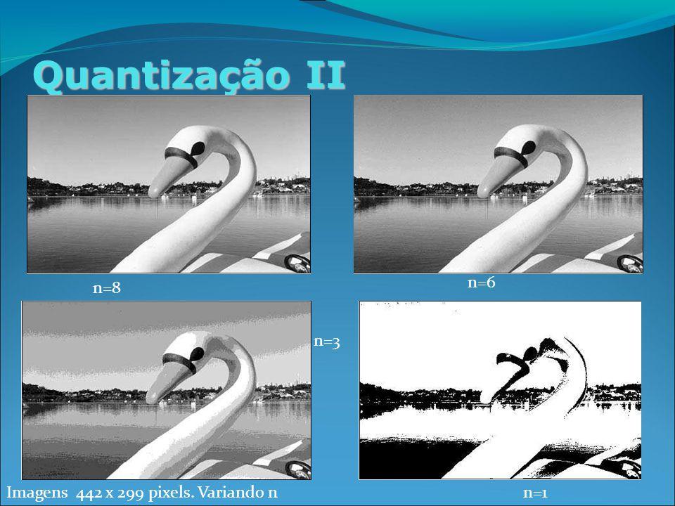 Quantização II Imagens 442 x 299 pixels. Variando n n=8 n=6 n=3 n=1