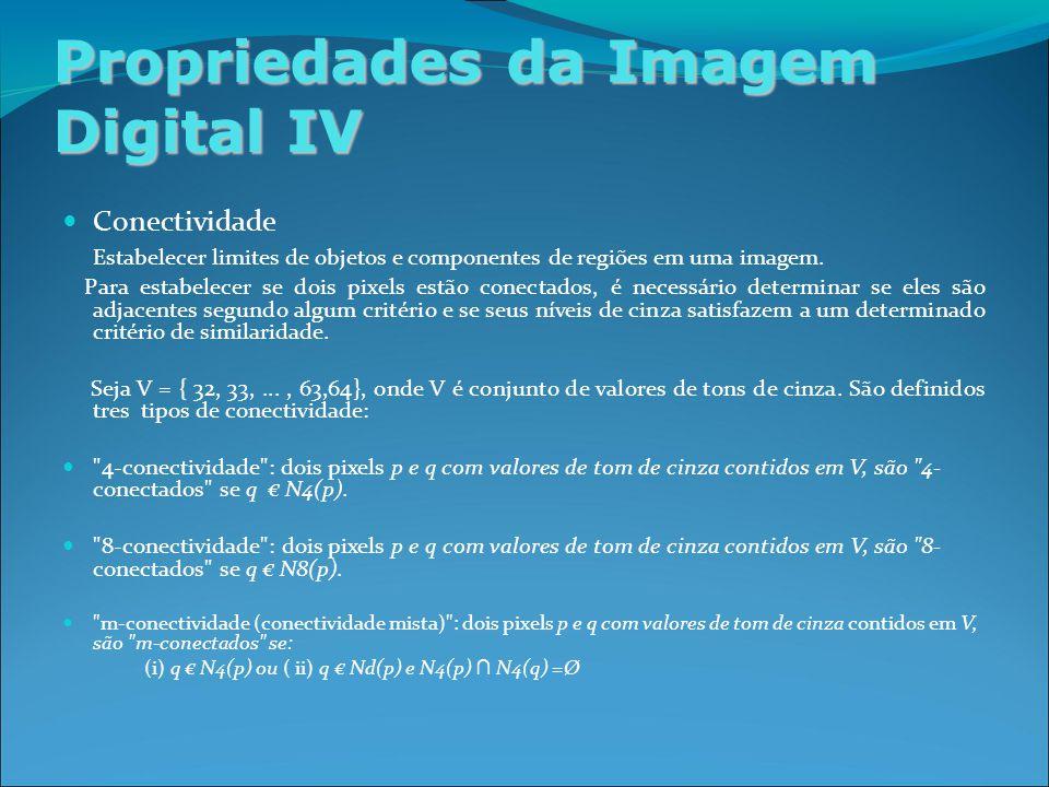 Propriedades da Imagem Digital IV Conectividade Estabelecer limites de objetos e componentes de regiões em uma imagem.