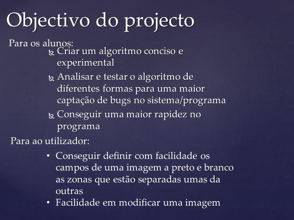  Criar um algoritmo conciso e experimental  Analisar e testar o algoritmo de diferentes formas para uma maior captação de bugs no sistema/programa 