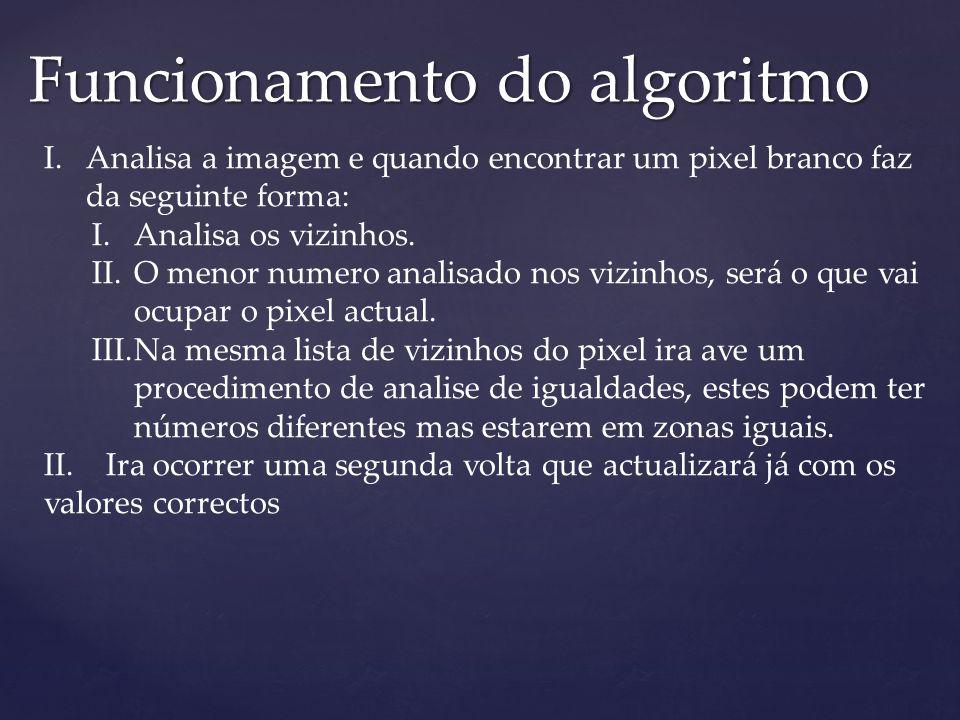 Funcionamento do algoritmo I.Analisa a imagem e quando encontrar um pixel branco faz da seguinte forma: I.Analisa os vizinhos. II.O menor numero anali
