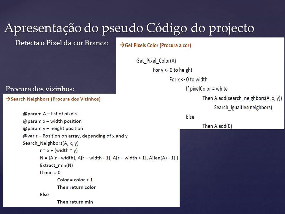 Apresentação do pseudo Código do projecto Detecta o Pixel da cor Branca: Procura dos vizinhos: