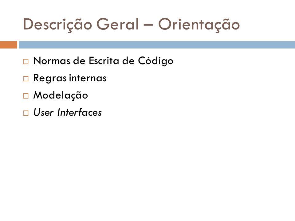 Descrição Geral – Orientação  Normas de Escrita de Código  Regras internas  Modelação  User Interfaces