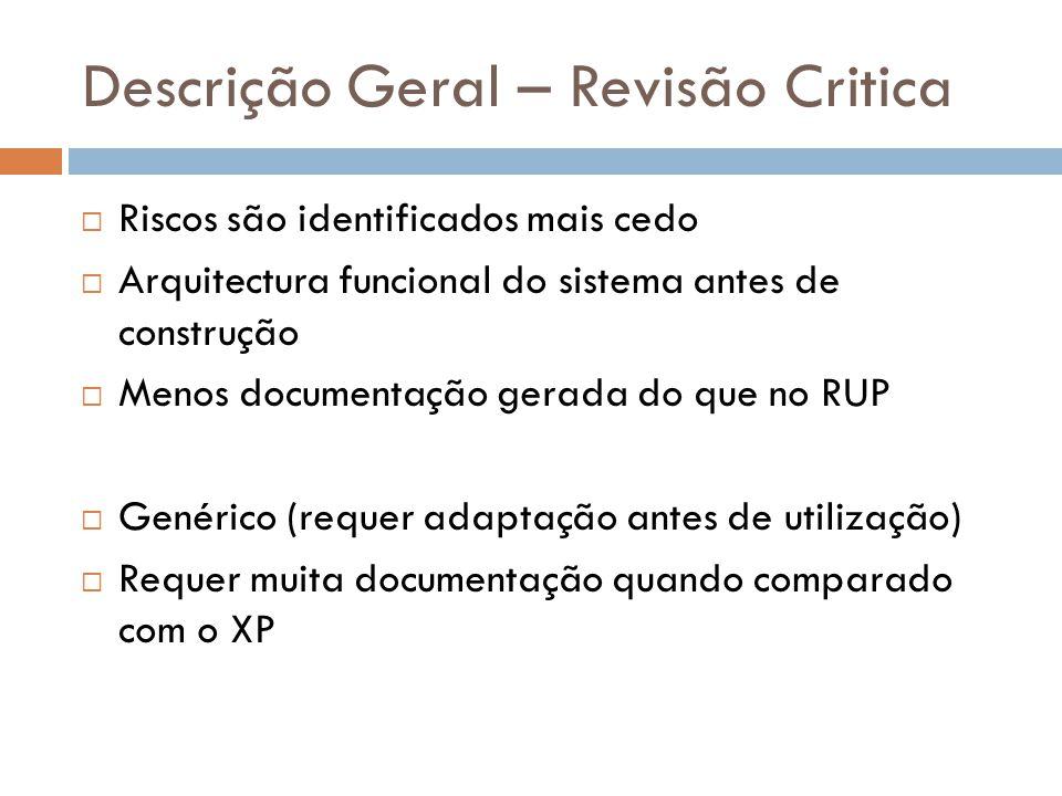 Descrição Geral – Revisão Critica  Riscos são identificados mais cedo  Arquitectura funcional do sistema antes de construção  Menos documentação ge