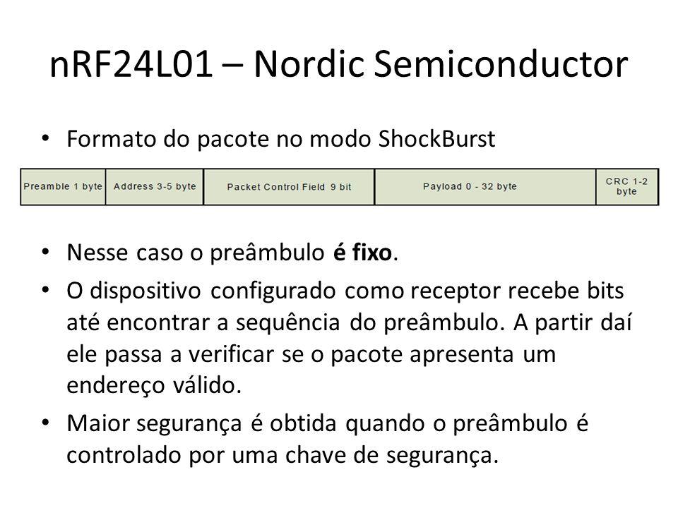 nRF24L01 – Nordic Semiconductor Formato do pacote no modo ShockBurst Nesse caso o preâmbulo é fixo.