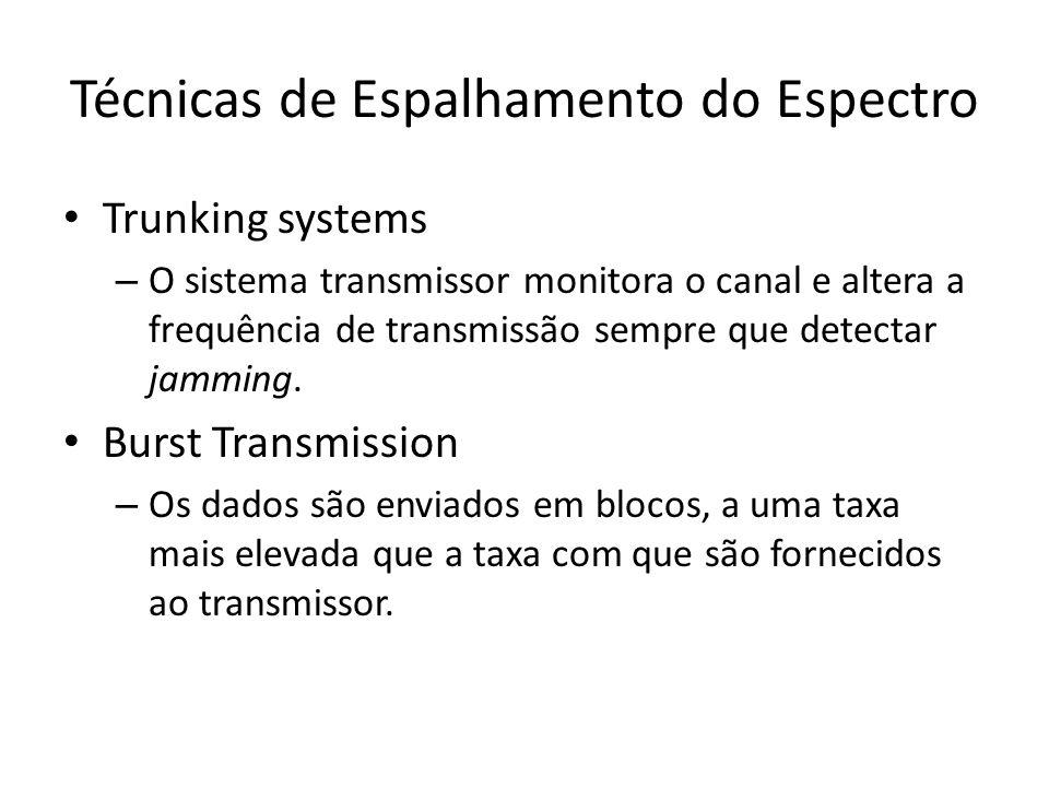 Técnicas de Espalhamento do Espectro Trunking systems – O sistema transmissor monitora o canal e altera a frequência de transmissão sempre que detectar jamming.