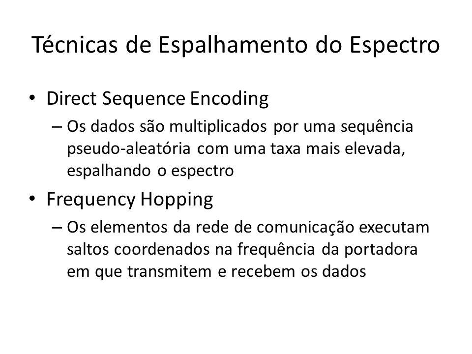 Técnicas de Espalhamento do Espectro Direct Sequence Encoding – Os dados são multiplicados por uma sequência pseudo-aleatória com uma taxa mais elevada, espalhando o espectro Frequency Hopping – Os elementos da rede de comunicação executam saltos coordenados na frequência da portadora em que transmitem e recebem os dados