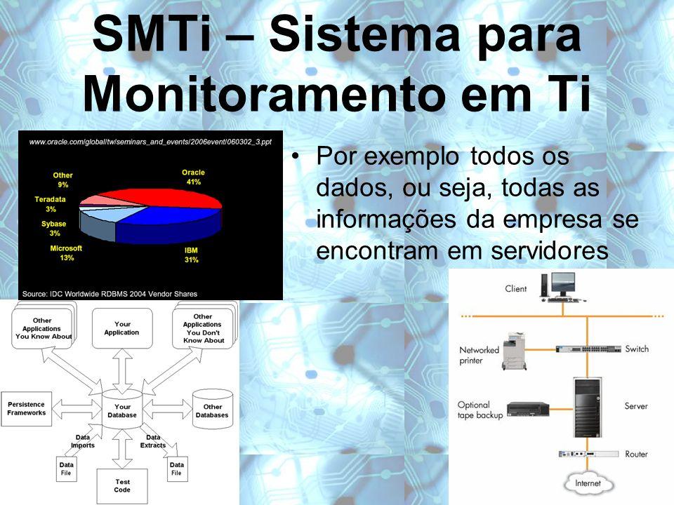 SMTi – Sistema para Monitoramento em Ti Por exemplo todos os dados, ou seja, todas as informações da empresa se encontram em servidores