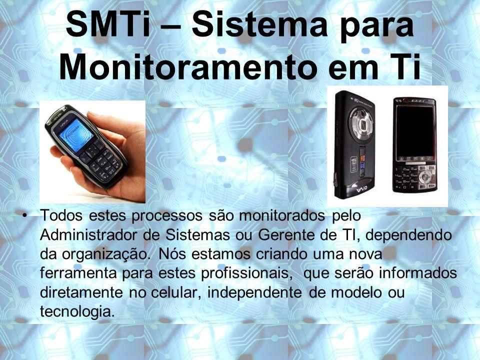SMTi – Sistema para Monitoramento em Ti Todos estes processos são monitorados pelo Administrador de Sistemas ou Gerente de TI, dependendo da organizaç