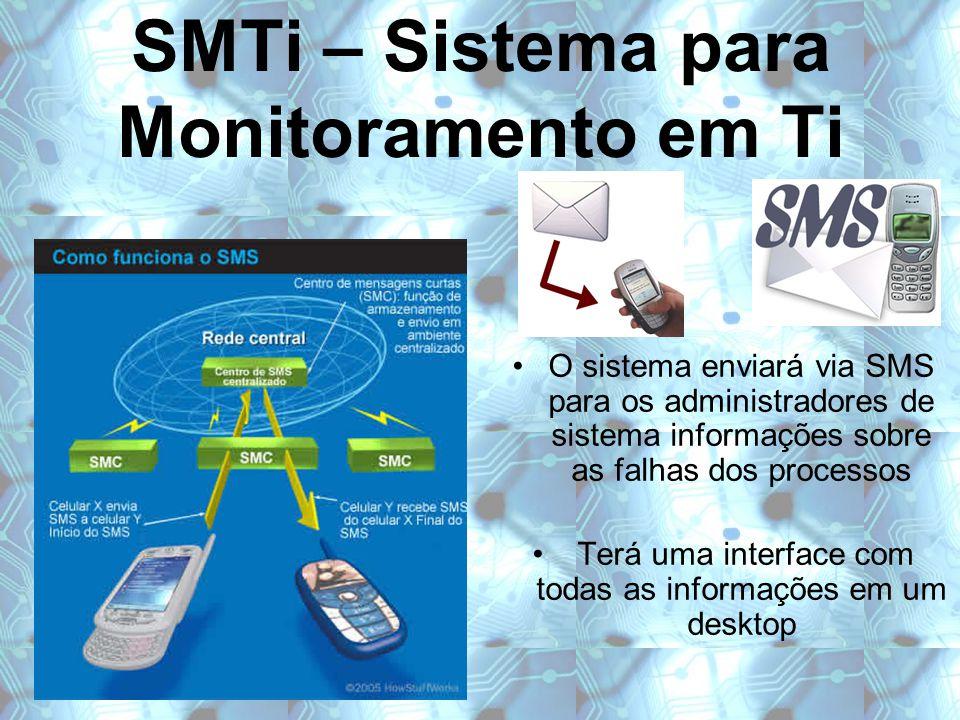 SMTi – Sistema para Monitoramento em Ti O sistema enviará via SMS para os administradores de sistema informações sobre as falhas dos processos Terá um