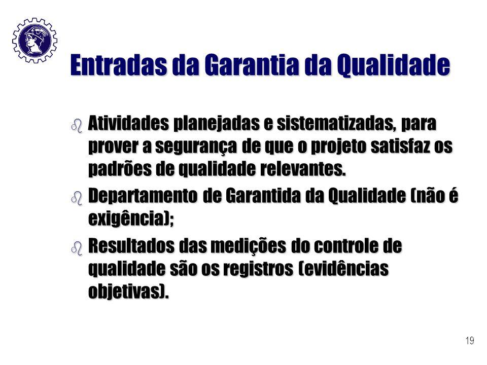 19 Entradas da Garantia da Qualidade b Atividades planejadas e sistematizadas, para prover a segurança de que o projeto satisfaz os padrões de qualida