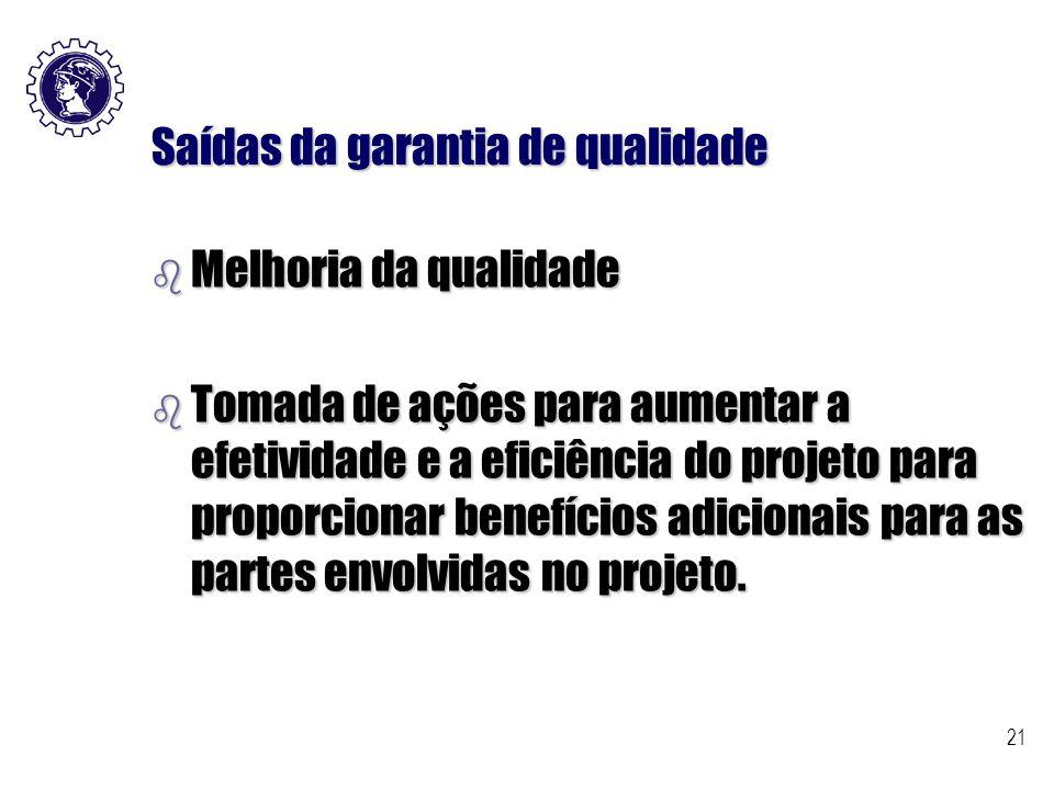 21 Saídas da garantia de qualidade b Melhoria da qualidade b Tomada de ações para aumentar a efetividade e a eficiência do projeto para proporcionar b