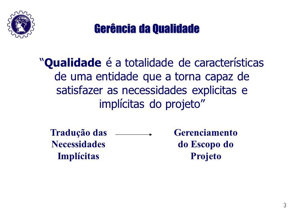 """3 Gerência da Qualidade """"Qualidade é a totalidade de características de uma entidade que a torna capaz de satisfazer as necessidades explicitas e impl"""