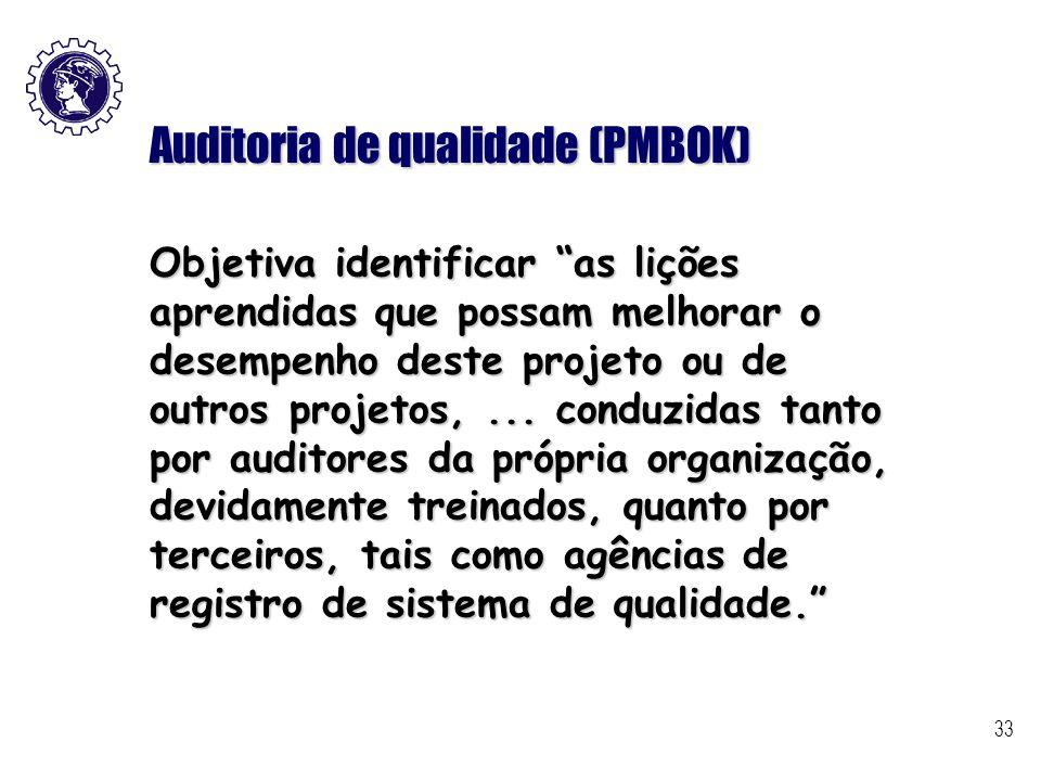 """33 Auditoria de qualidade (PMBOK) Objetiva identificar """"as lições aprendidas que possam melhorar o desempenho deste projeto ou de outros projetos,..."""