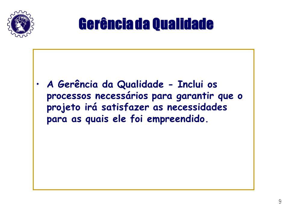 9 Gerência da Qualidade A Gerência da Qualidade - Inclui os processos necessários para garantir que o projeto irá satisfazer as necessidades para as q