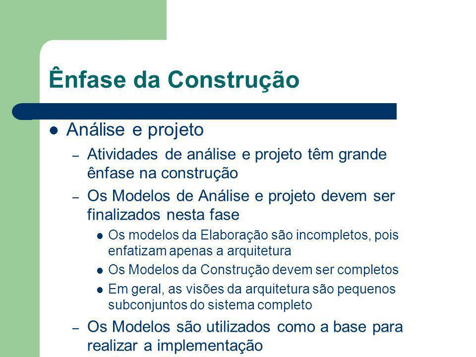 Ênfase da Construção Análise e projeto – Atividades de análise e projeto têm grande ênfase na construção – Os Modelos de Análise e projeto devem ser finalizados nesta fase Os modelos da Elaboração são incompletos, pois enfatizam apenas a arquitetura Os Modelos da Construção devem ser completos Em geral, as visões da arquitetura são pequenos subconjuntos do sistema completo – Os Modelos são utilizados como a base para realizar a implementação