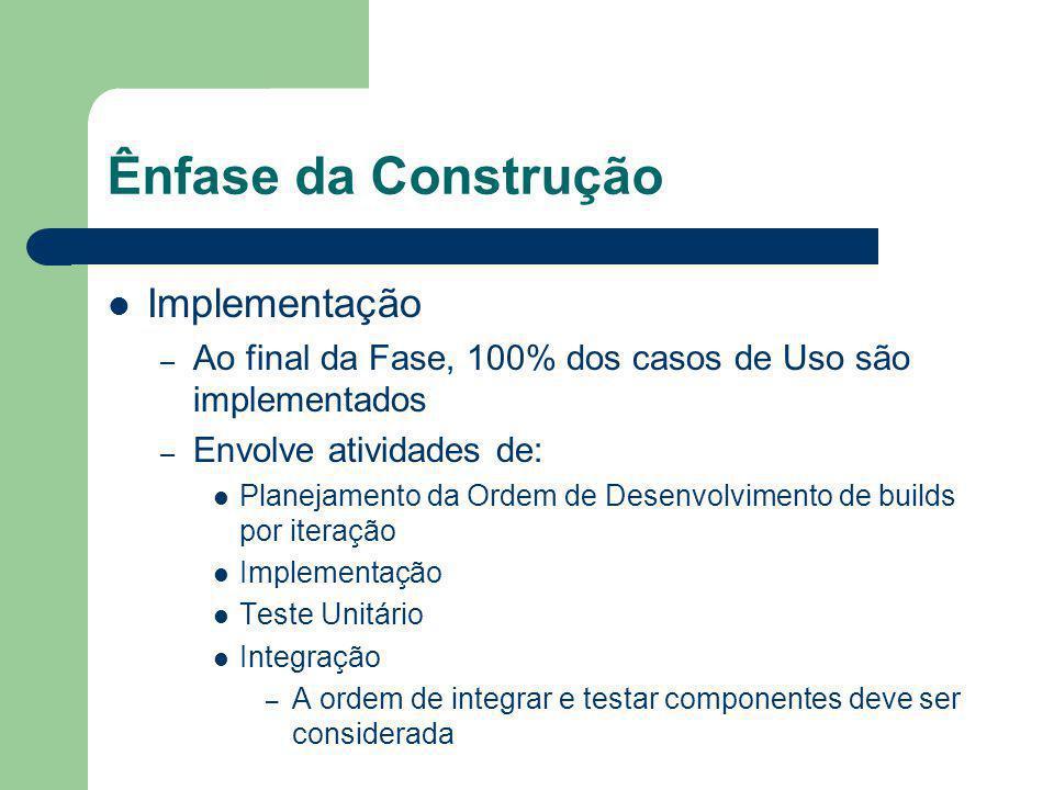 Ênfase da Construção Implementação – Ao final da Fase, 100% dos casos de Uso são implementados – Envolve atividades de: Planejamento da Ordem de Desenvolvimento de builds por iteração Implementação Teste Unitário Integração – A ordem de integrar e testar componentes deve ser considerada
