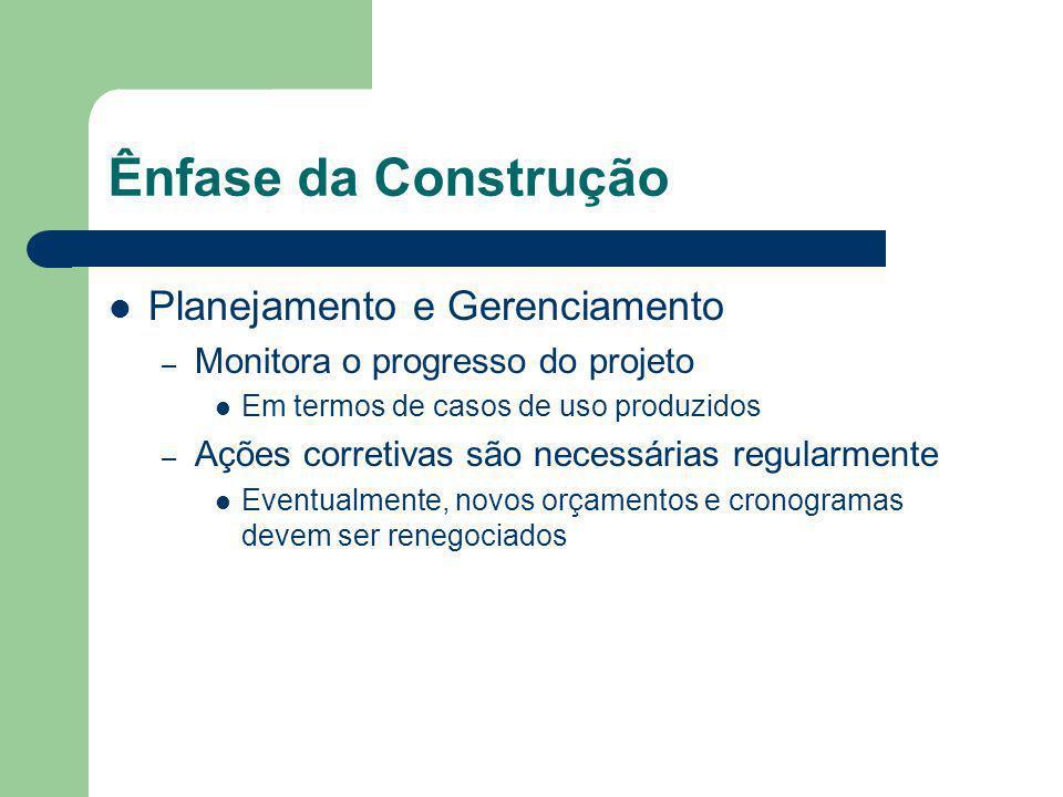 Ênfase da Construção Planejamento e Gerenciamento – Monitora o progresso do projeto Em termos de casos de uso produzidos – Ações corretivas são necessárias regularmente Eventualmente, novos orçamentos e cronogramas devem ser renegociados