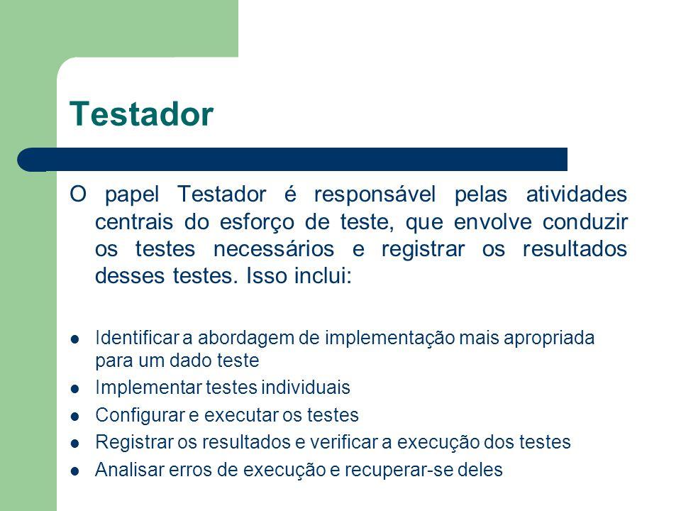Testador O papel Testador é responsável pelas atividades centrais do esforço de teste, que envolve conduzir os testes necessários e registrar os resul