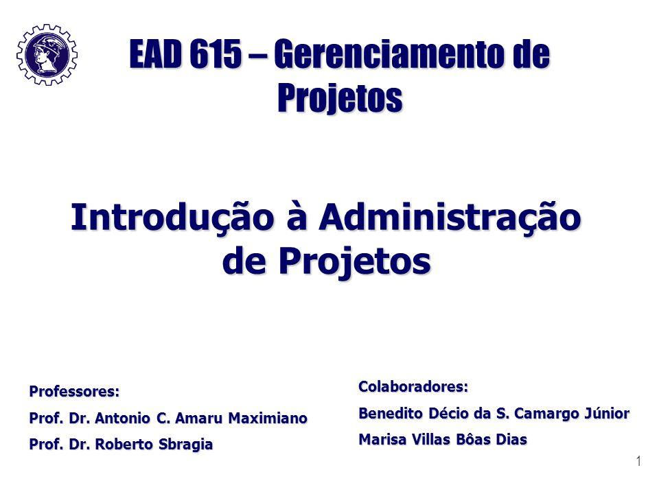1 EAD 615 – Gerenciamento de Projetos Introdução à Administração de Projetos Professores: Prof. Dr. Antonio C. Amaru Maximiano Prof. Dr. Roberto Sbrag