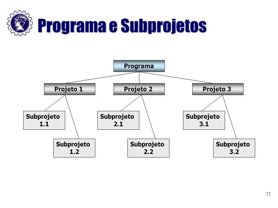 11 Programa e Subprojetos Programa Projeto 1Projeto 2Projeto 3 Subprojeto 1.1 Subprojeto 1.2 Subprojeto 2.1 Subprojeto 2.2 Subprojeto 3.1 Subprojeto 3