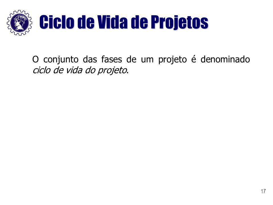 17 Ciclo de Vida de Projetos O conjunto das fases de um projeto é denominado ciclo de vida do projeto.