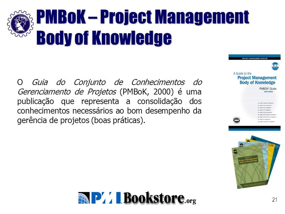 21 O Guia do Conjunto de Conhecimentos do Gerenciamento de Projetos (PMBoK, 2000) é uma publicação que representa a consolidação dos conhecimentos nec