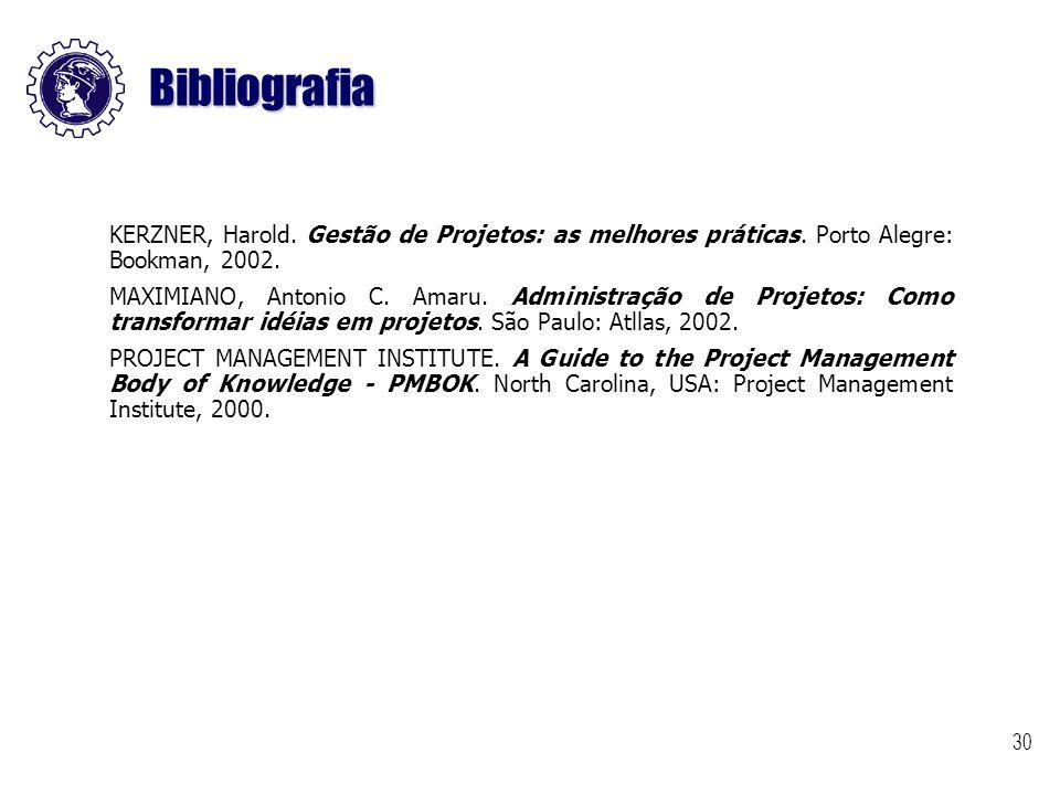 30 Bibliografia KERZNER, Harold. Gestão de Projetos: as melhores práticas. Porto Alegre: Bookman, 2002. MAXIMIANO, Antonio C. Amaru. Administração de