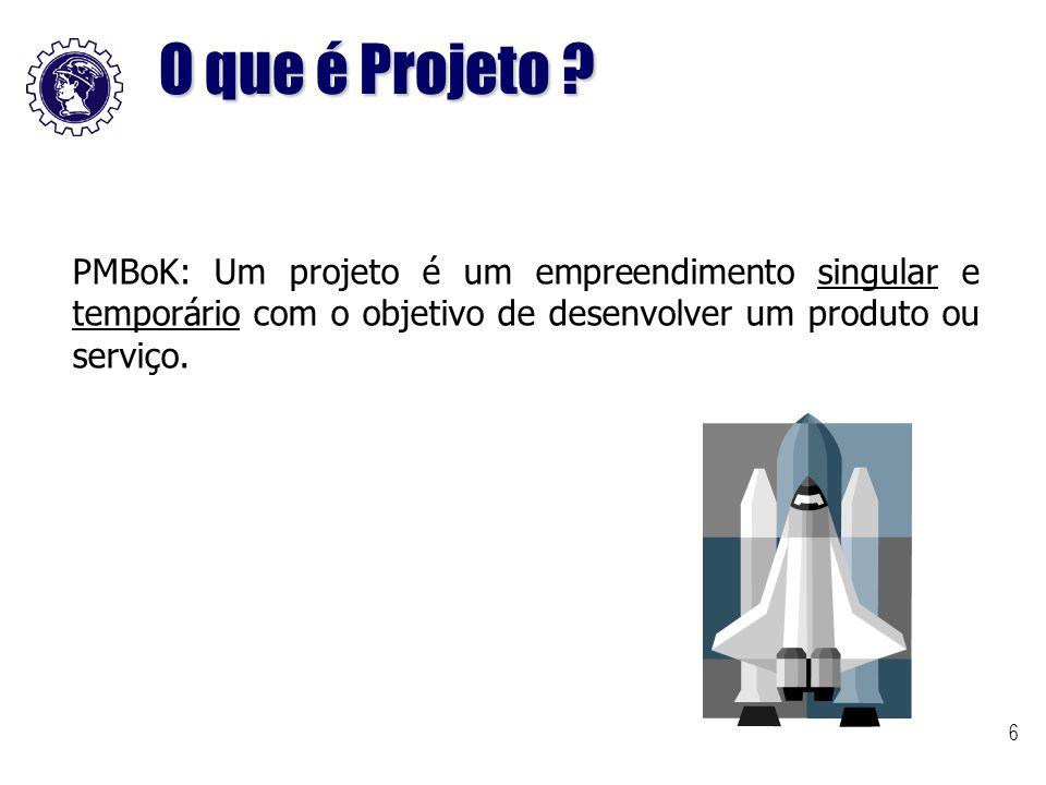 6 PMBoK: Um projeto é um empreendimento singular e temporário com o objetivo de desenvolver um produto ou serviço. O que é Projeto ?